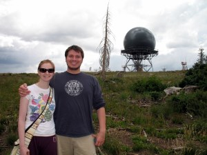 Weird communications tower, and me without makeup
