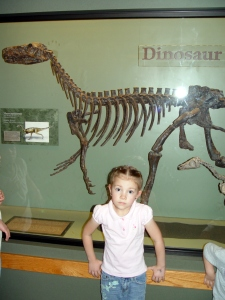 Then a picture of Anna in front of the dinosaur...